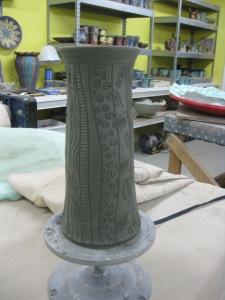 Wheel-thrown Vase carved