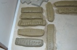 shrinkage bars made from clay samples from campus